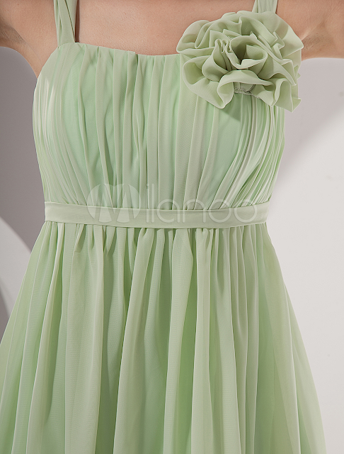 China Wholesale Homecoming Dresses - Modern Light Green Square Neckline A-line Chiffon Womens Homecoming Dress