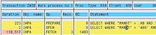 SAP ST05 SQL Trace output