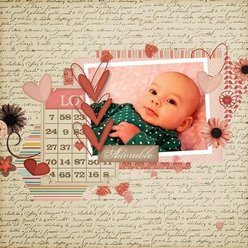 valentine's digital scrapbooking page