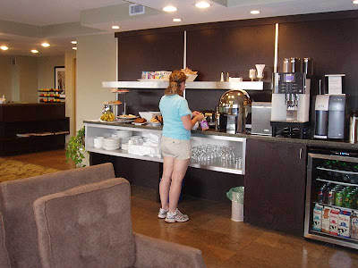 The Signature Club Lounge was a great feature. We had breakfast and evening snacks there both days. The fridge in the lower right was constantly full of juice, pop and water.