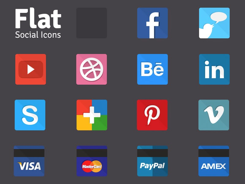 Flat social icons by