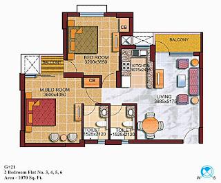 Czar Suites :: Floor Plans:-G+22 2 Bedroom Flat no. 3,4,5,6 Area - 1070 sq. ft.