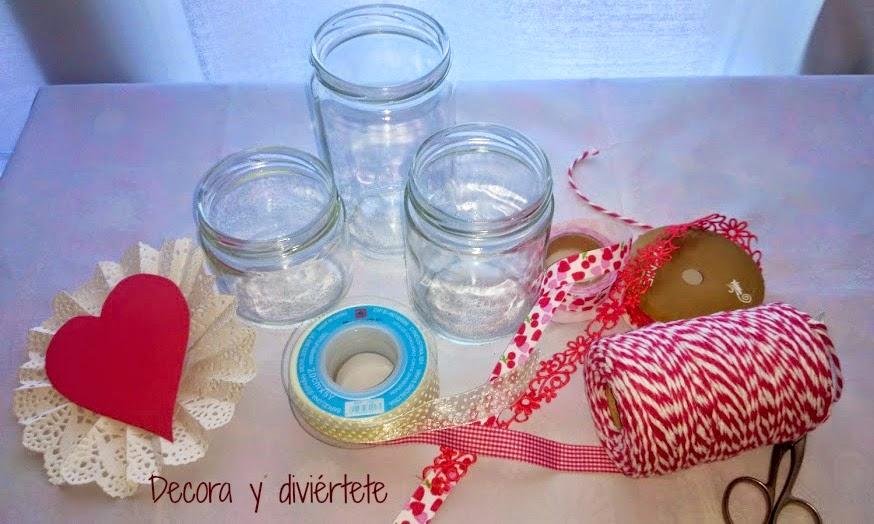 Botes de cristal decorados para san valent n decora y - Como decorar botes de cristal para chuches ...