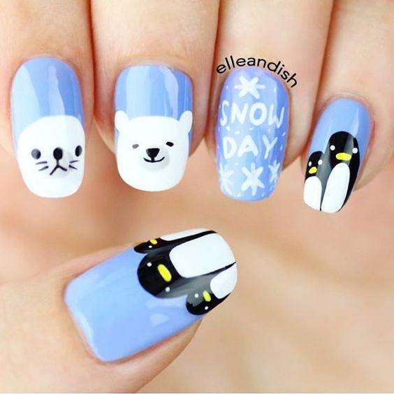 Cute animal snow day nail art tutorial prinsesfo Gallery