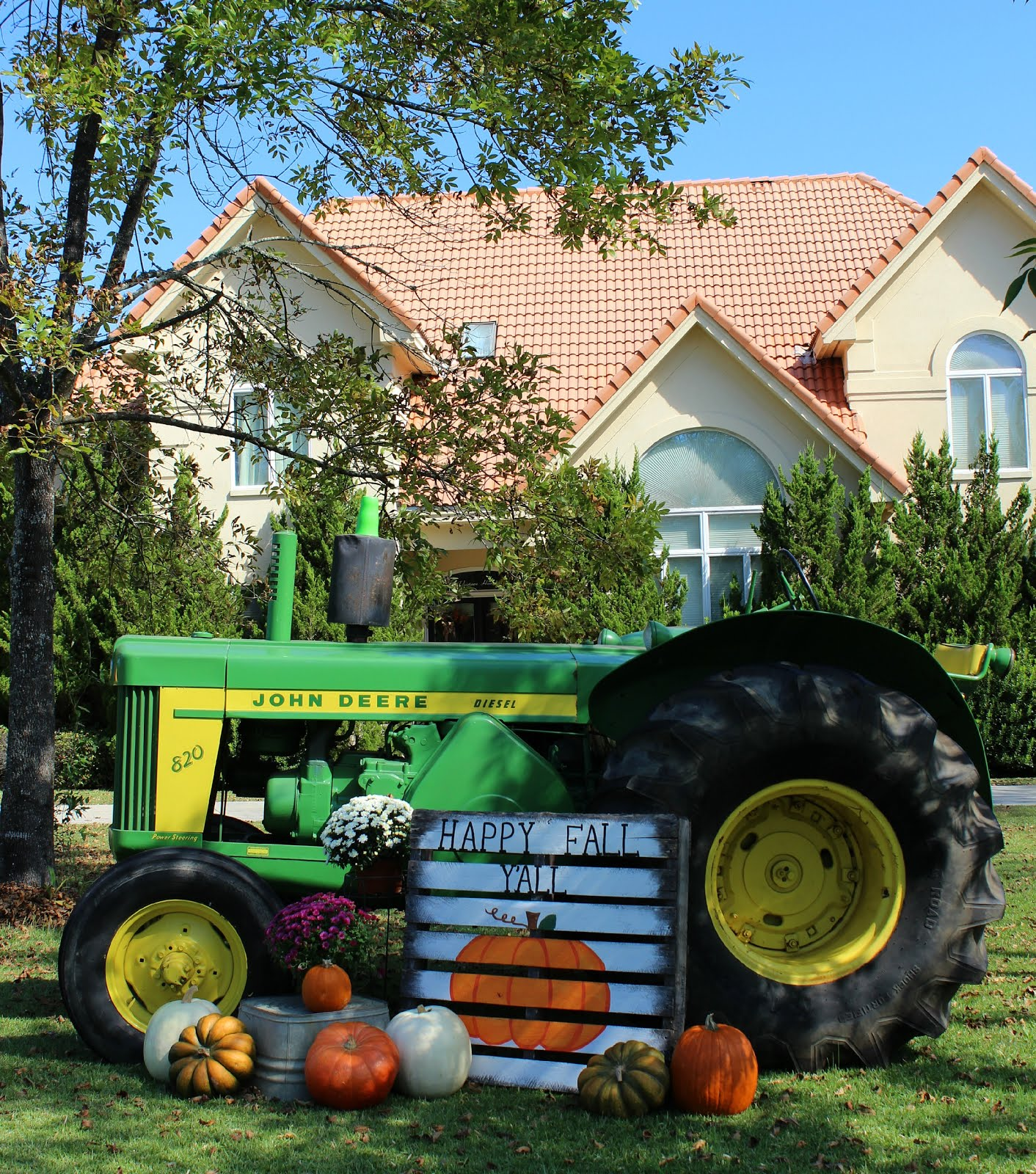 Wanna Take A Ride on my Big Green Tractor - Fall Scene