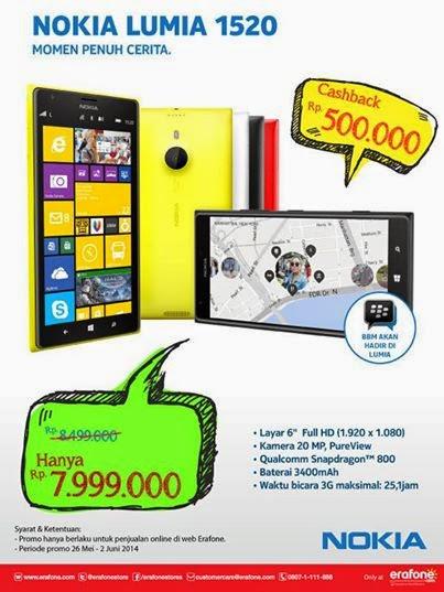 Nokia Lumia 1520 Rp 7.999.000