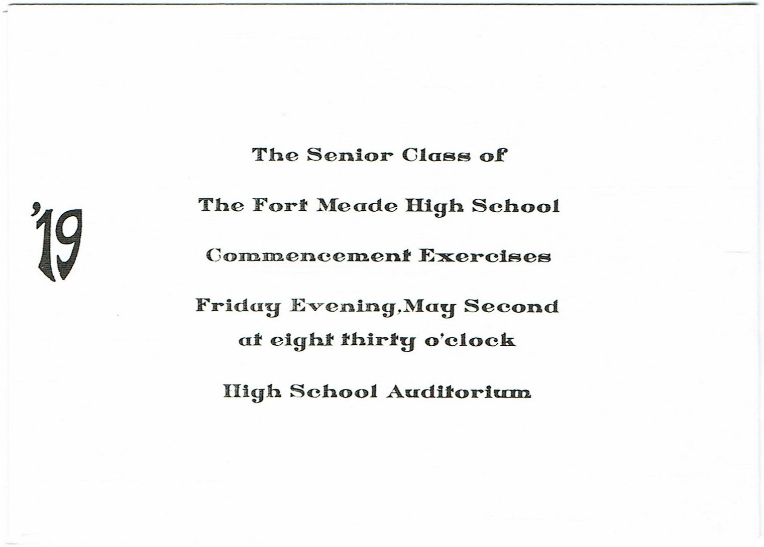 Reprint of the graduation program for the class of 1919 at Fort Meade High School in Florida