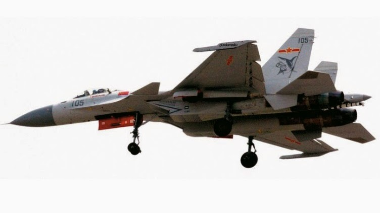 Two new Shenyang J-15 aircraft, numbered 104 and 105, are ready for ...