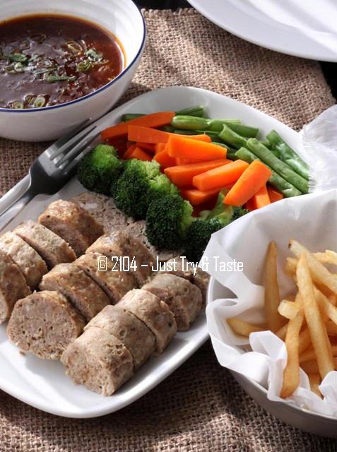 Penjelasan lengkap seputar resep bakso. Galantine Daging Sapi Ayam Dengan Sayuran Rebus Dan Kentang Goreng Just Try Taste