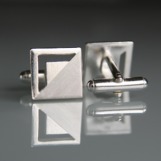 Modern square sterling silver cufflinks