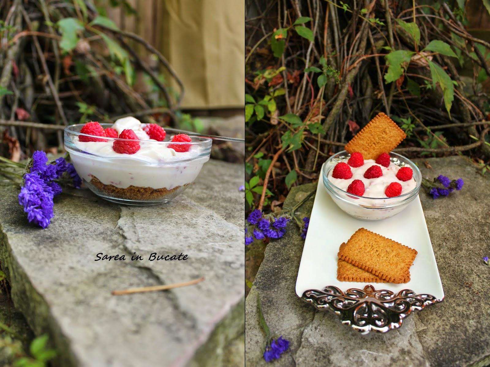 cheesecake la pahar(varianta rapida) cu zmeura si