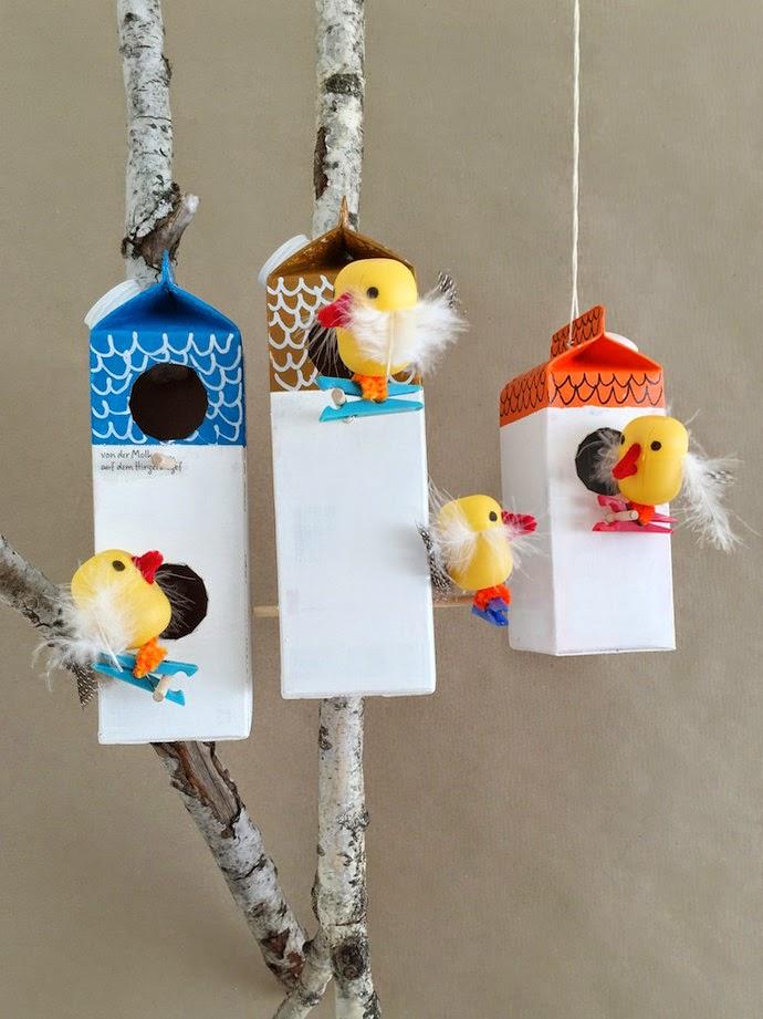 Manualidad casita de pájaros con tetrabrik7