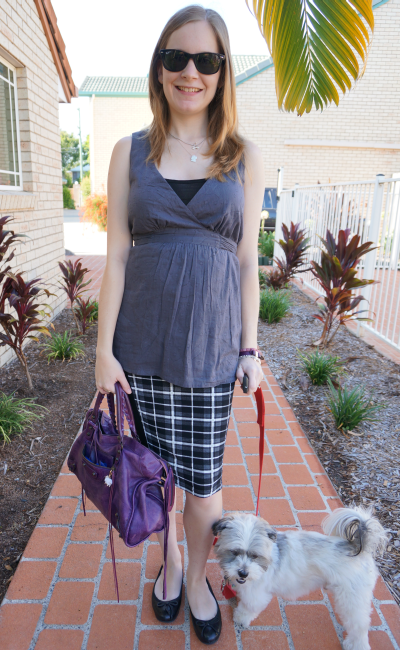 Empire waist tie detail top asos checked tartan plaid pencil skirt second trimester outfit