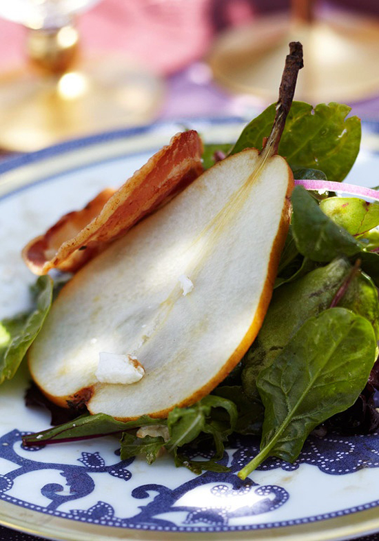 Pear, Pancetta, and Feta Salad with Pomegranate Molasses Dressing recipe. Via Traditional Home. Photo by Colleen Duffley