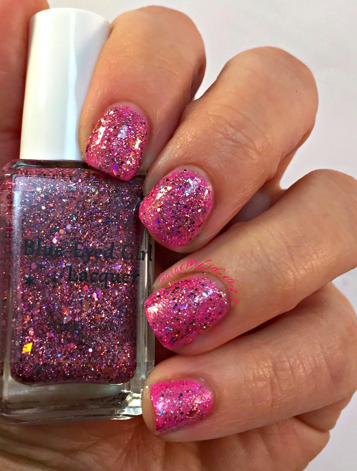begl, blue eyed girl lacquer, nail polish, pink, spark in the dark, Couting down until I see you, pink glitter indie polish