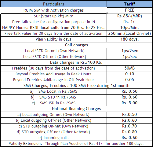 BSNL CDMA Joy Prepaid Plan Tariff