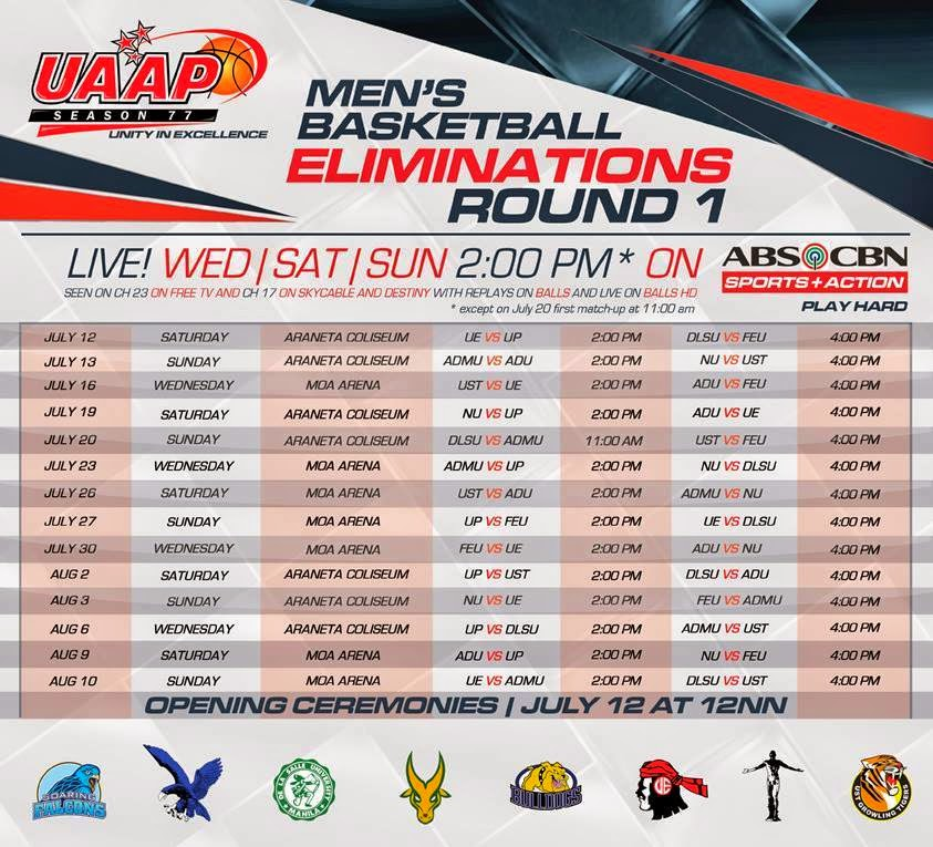 UAAP Season 77 Men's Basketball 1st Elimination Round Schedule