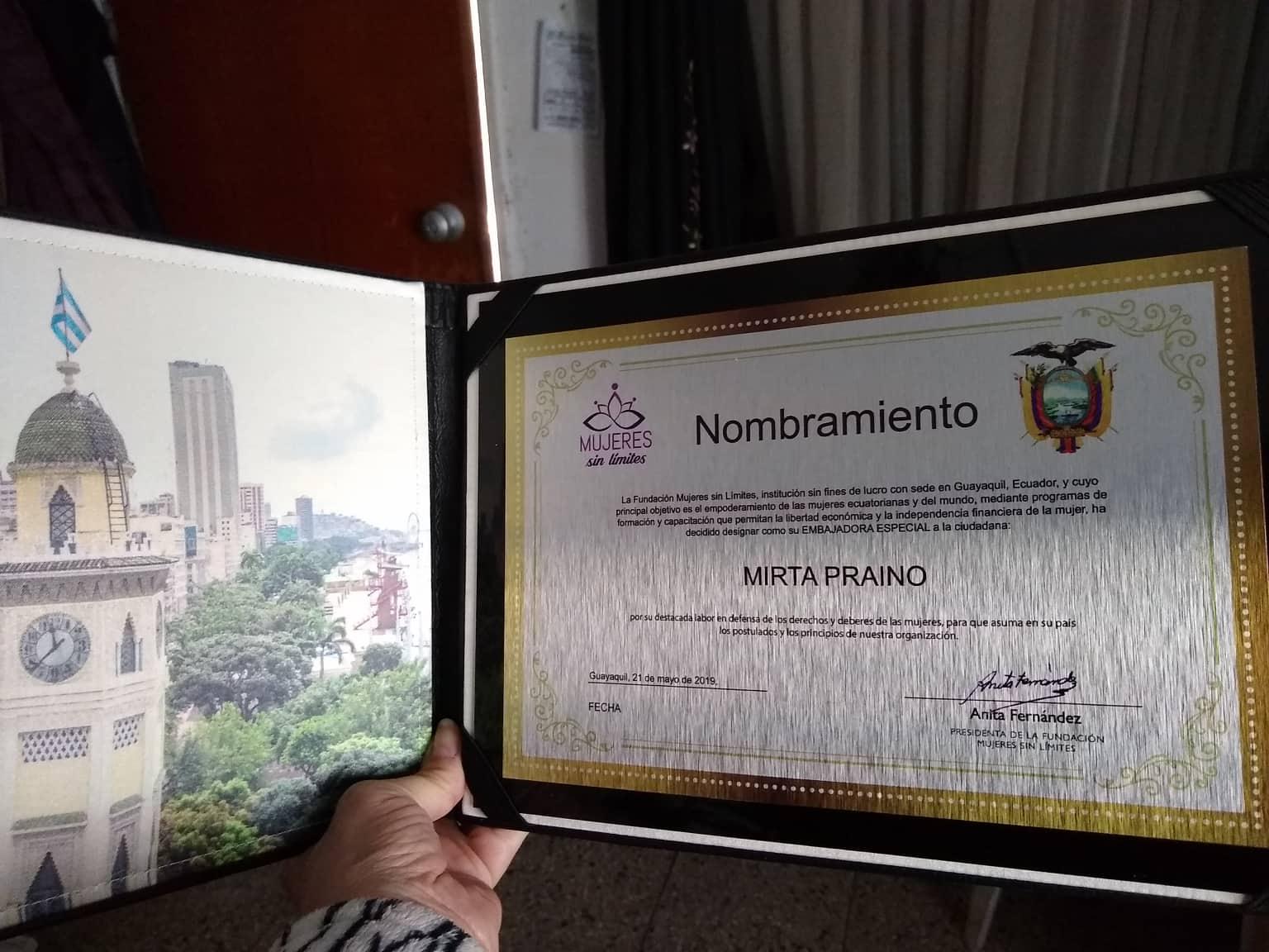 Nombramiento por la Fundacion Mujeres Sin Limites como EMBAJADORA ESPECIAL  Guayaquil-Ecuador