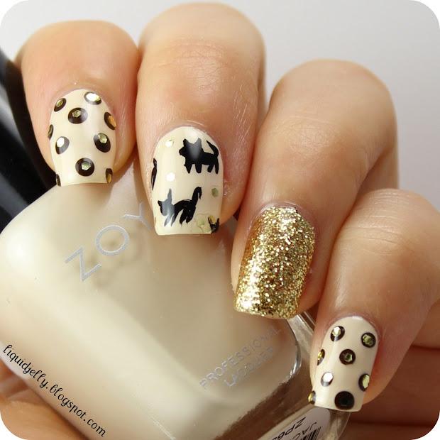 liquid jelly cat print nail art