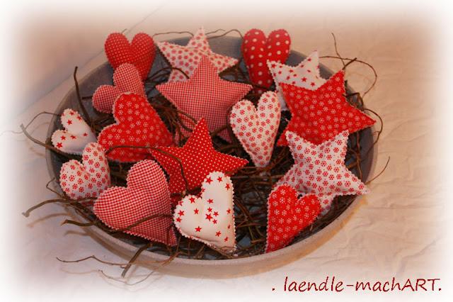 Herzen, Sterne, Weihnachtsdeko, selber nähen