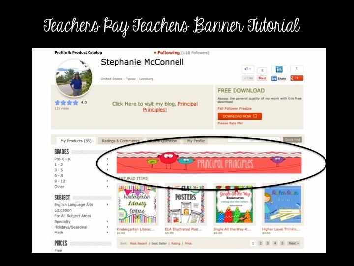 teachers pay teachers banner tutorial principal principles