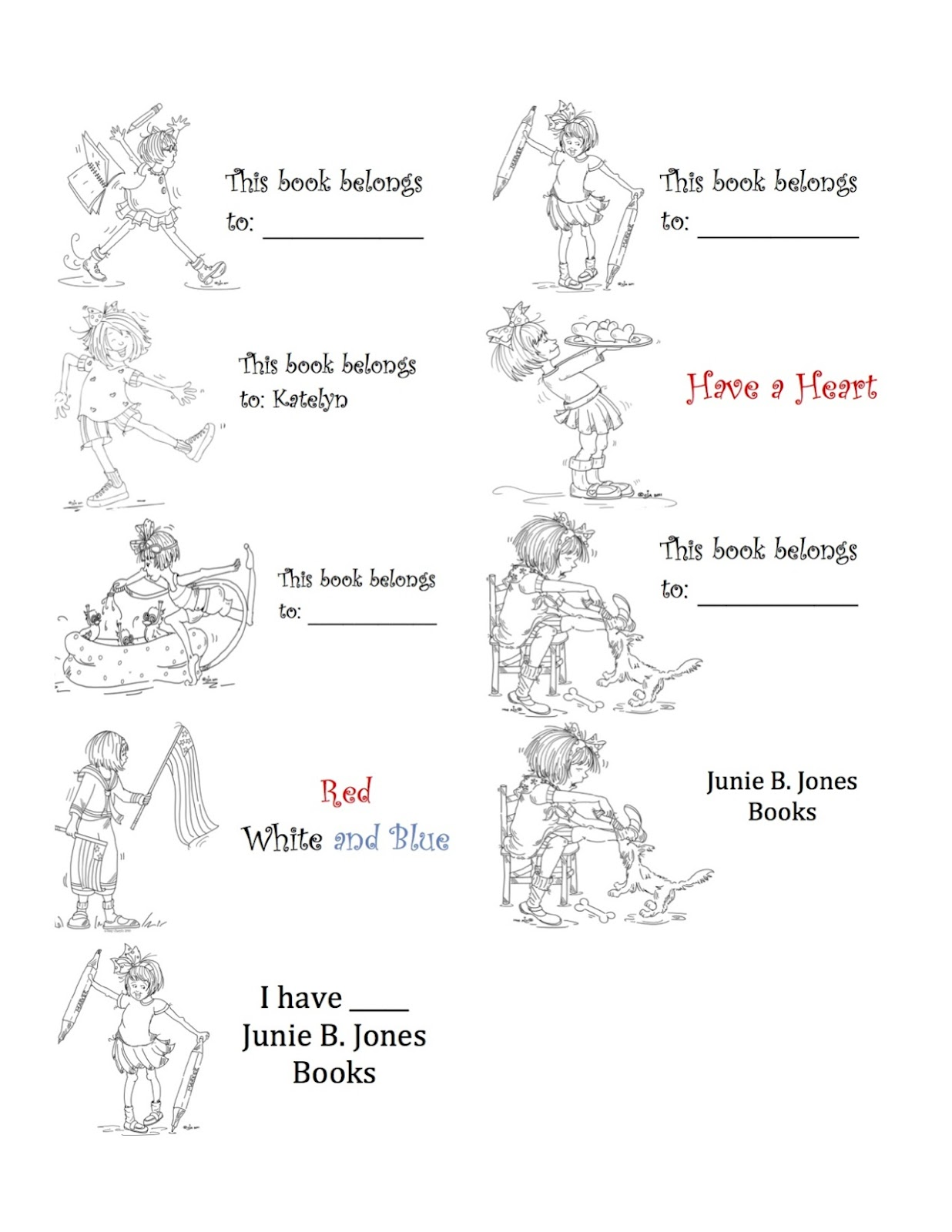 junie b jones coloring pages