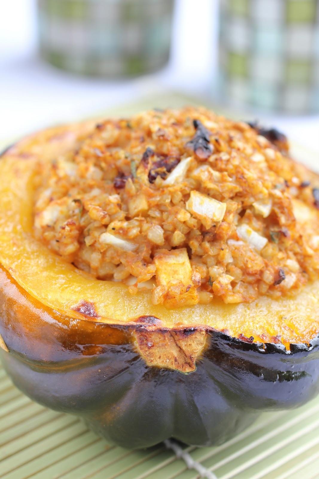 Autumn on a Plate: Pumpkin Bulgur Stuffed Acorn Squash ...