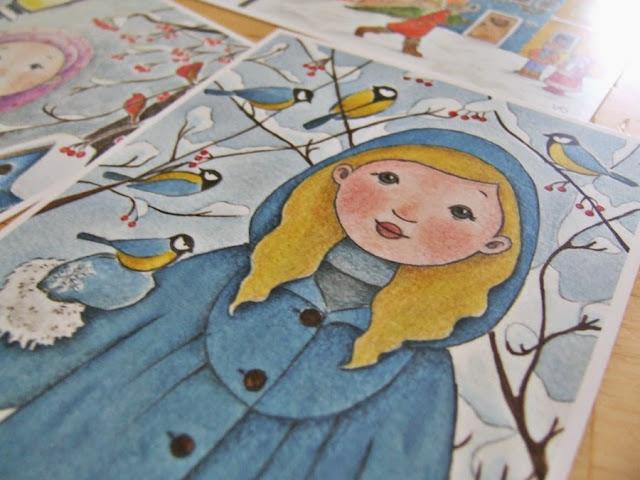 vánoční pohlednice dětská holčička sýkorky