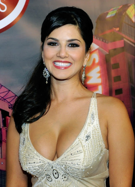 Sunny Leone Showing in White Dress and Transparent Shirt