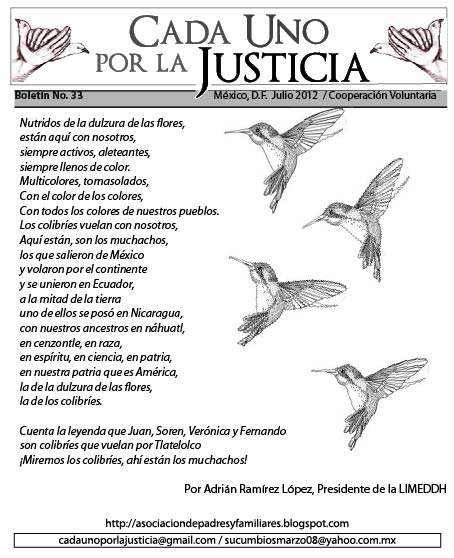 BOLETN CADA UNO POR LA JUSTICIA NO. 33/ JULIO 2012