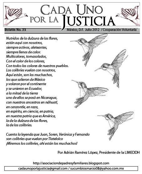BOLETÍN CADA UNO POR LA JUSTICIA NO. 33/ JULIO 2012