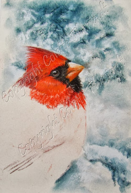northern cardinal bird painting on the easel