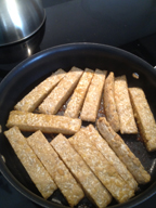 cooking the tempeh for Citrus and Maple Glazed Tempeh