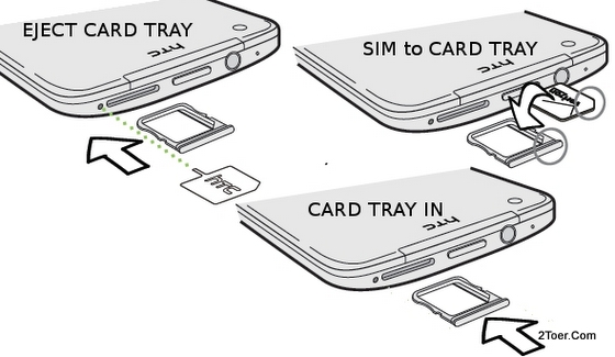 Eject  Insert SIM Card Tray Place microSIM Slot on HTC Droid DNA