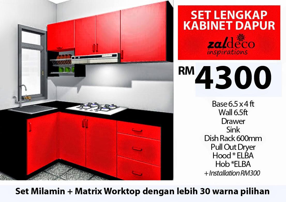 13 contoh kabinet dapur moden terkini desainic for Harga buat kitchen set