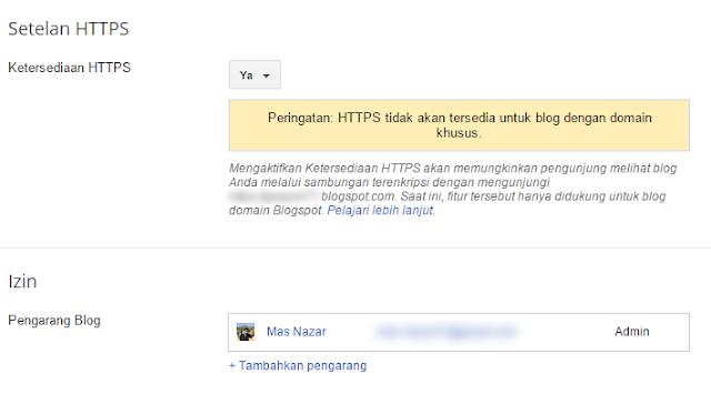 Cara Mengaktifkan HTTPS di Blogspot