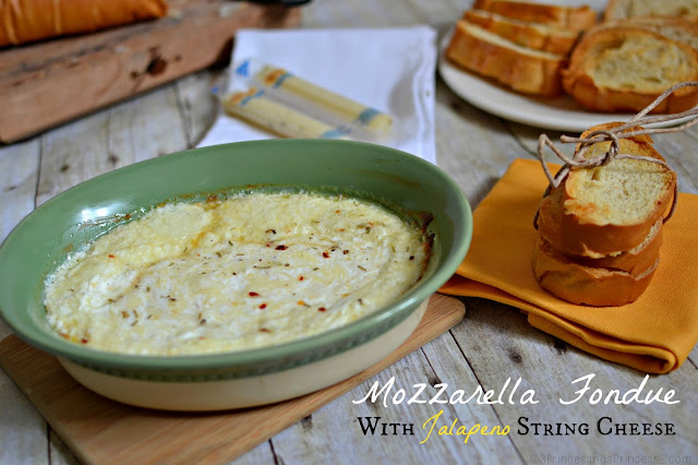 Mozzerella Fondue with Jalapeno String Cheese #Recipe