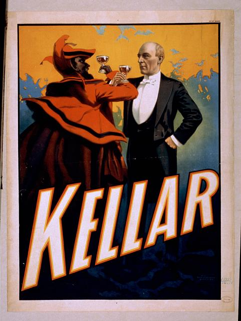 circus, classic posters, free download, graphic design, magic, movies, retro prints, theater, vintage, vintage posters, Kellar - Vintage Magic Poster
