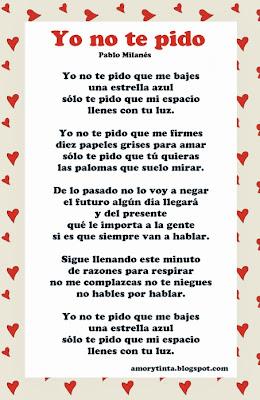 Poema yo no te pido de Pablo Milanes