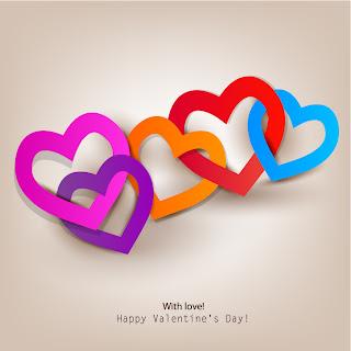 ハートを重ねたバレンタインデー背景 Valentine's Day love heart to heart イラスト素材