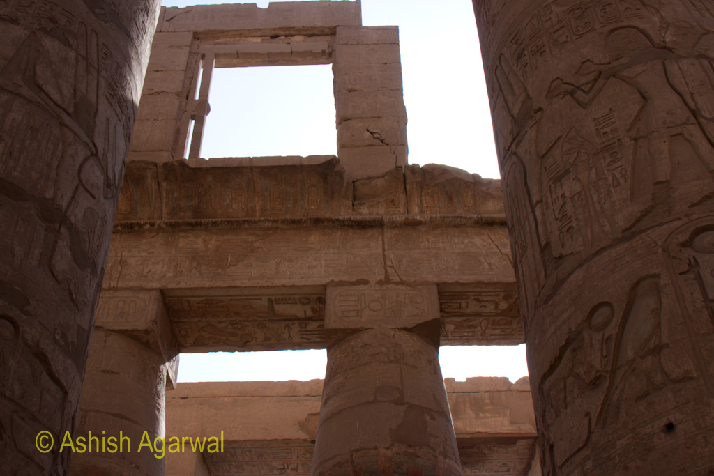 Multiple levels of the pillars inside the Hypostyle Hall in the Karnak temple in Luxor