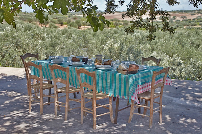 A Sicilian lunch in the shade of the fig and carub tree ...