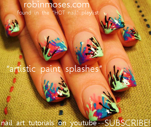 Robin moses nail art madness artistic splatter paint nail pink madness artistic splatter paint nail pink black blue purple nail art designs up for monday prinsesfo Choice Image
