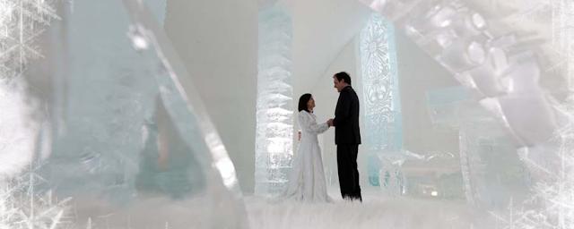 Hotel de Glace - una boda se celebra en una capilla de hielo