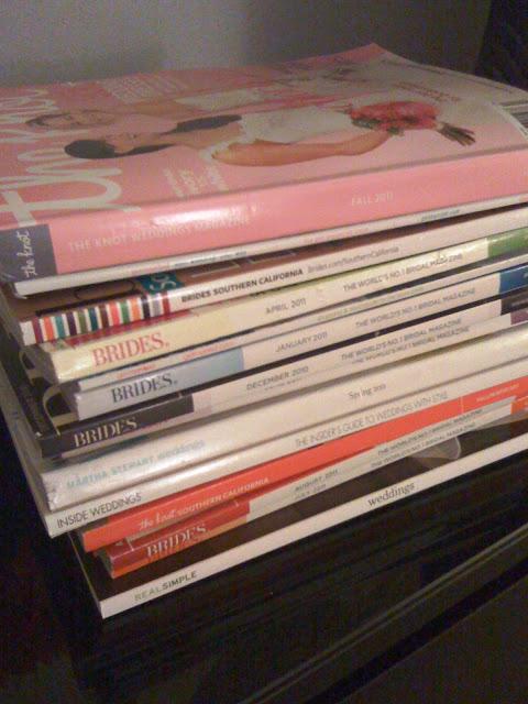 Stack of Bridal Magazines