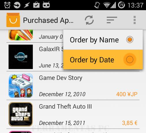 Android Apps comprados no Google Play
