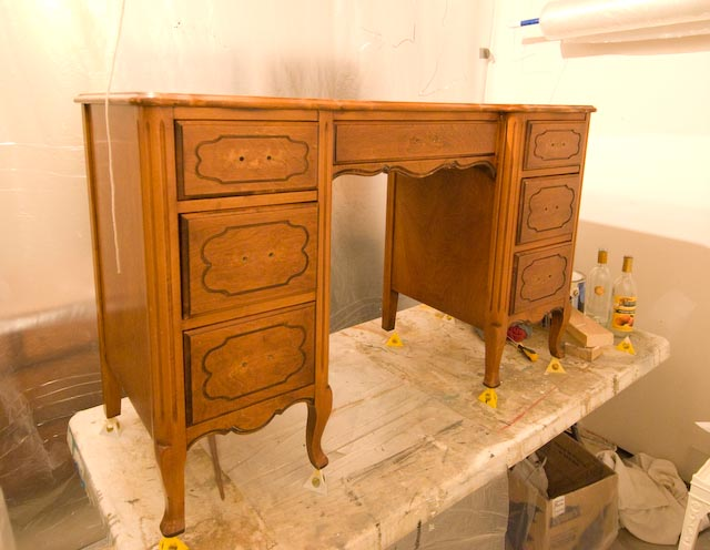 A Fairly Attractive Old Desk, Wouldnu0027t You Say? But Just Couldnu0027t Have Too  Many Colors/shades Of Wood Going On In One Room... So It Needed To Be  Painted A ...