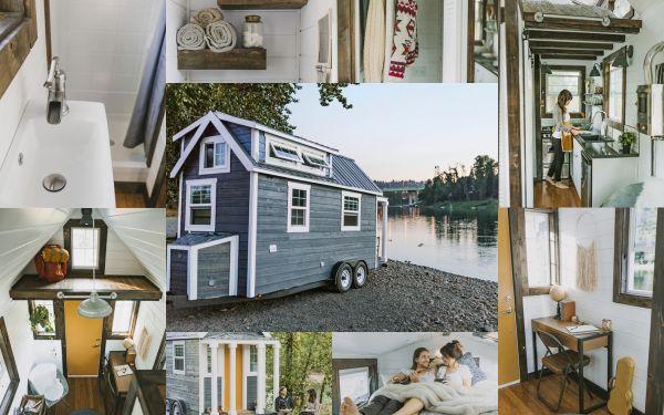 Mini casa madera sobre ruedas