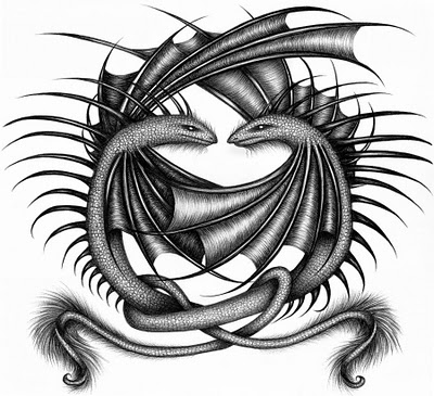 New tribal dragon tattoo ideas tribal dragon and wolf tattoo for Dragon and wolf tattoo