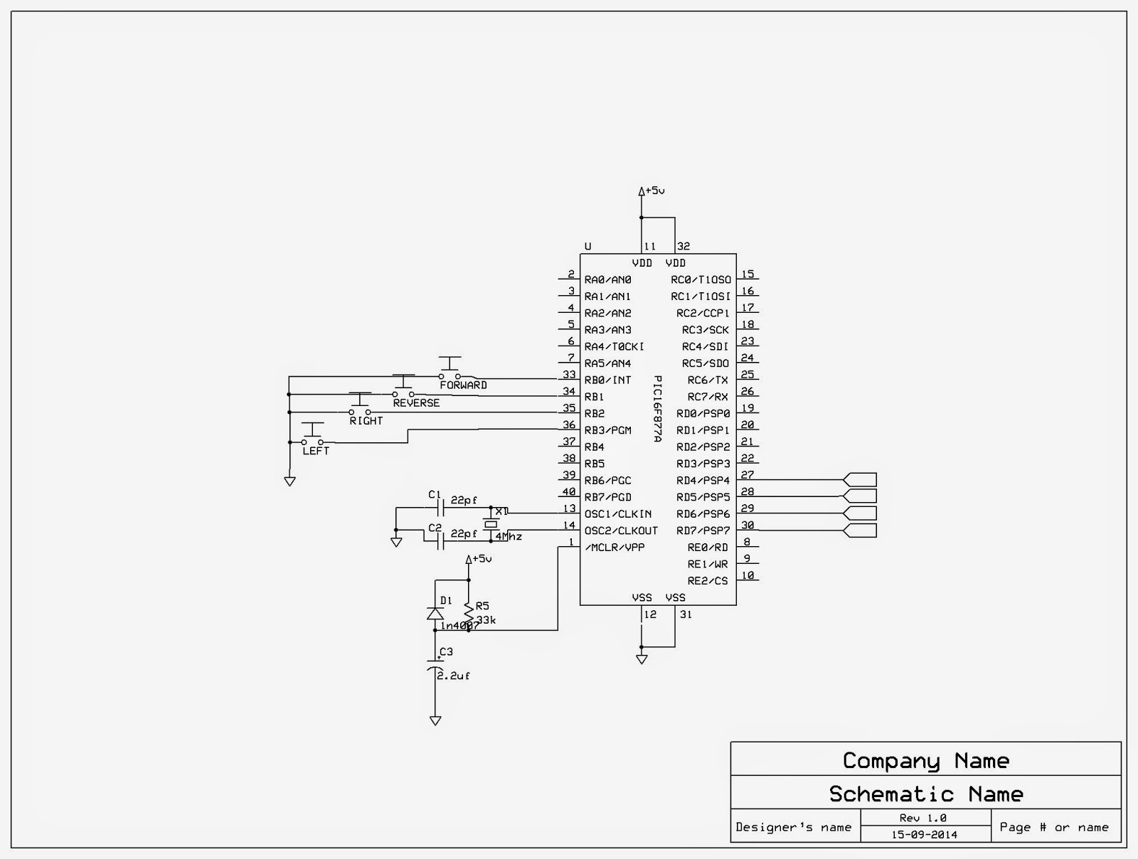 A Remote Controlled Car Using Pic 16f877a And L293d Motor Driver Circuit Diagram Of Control The Output Supply Vcc2 Has Wide Range From 45v To 36v Which Made Best Choice For Dc Is As
